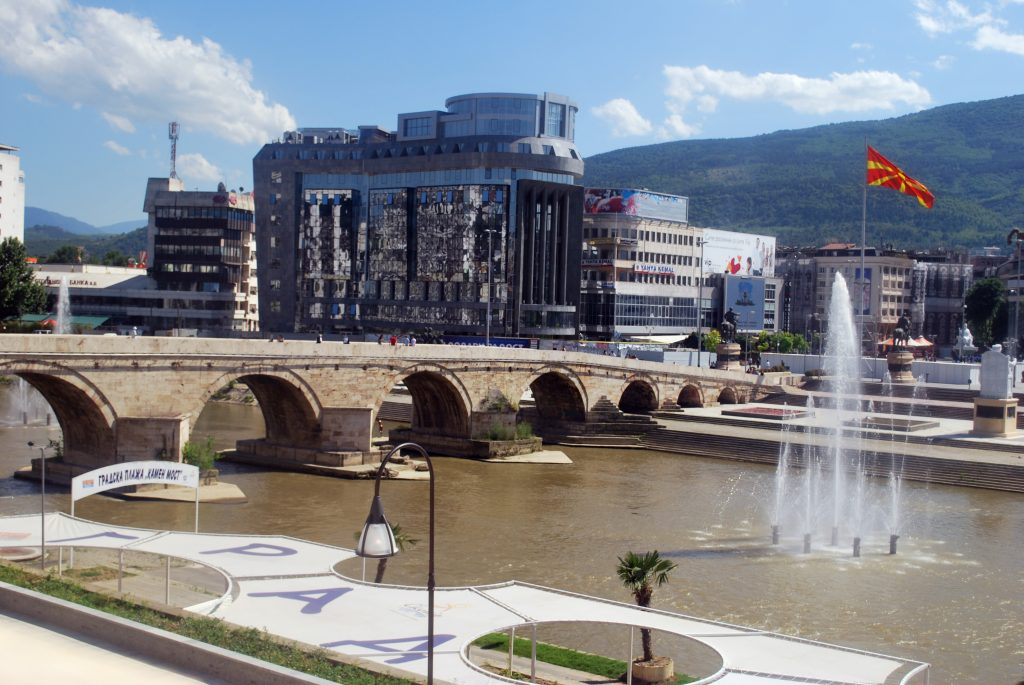 The Vardar River and the Stone Bridge, the symbol of Skopje, North Macedonia. Photo by Rašo, published under the CC BY-SA 3.0 licence.