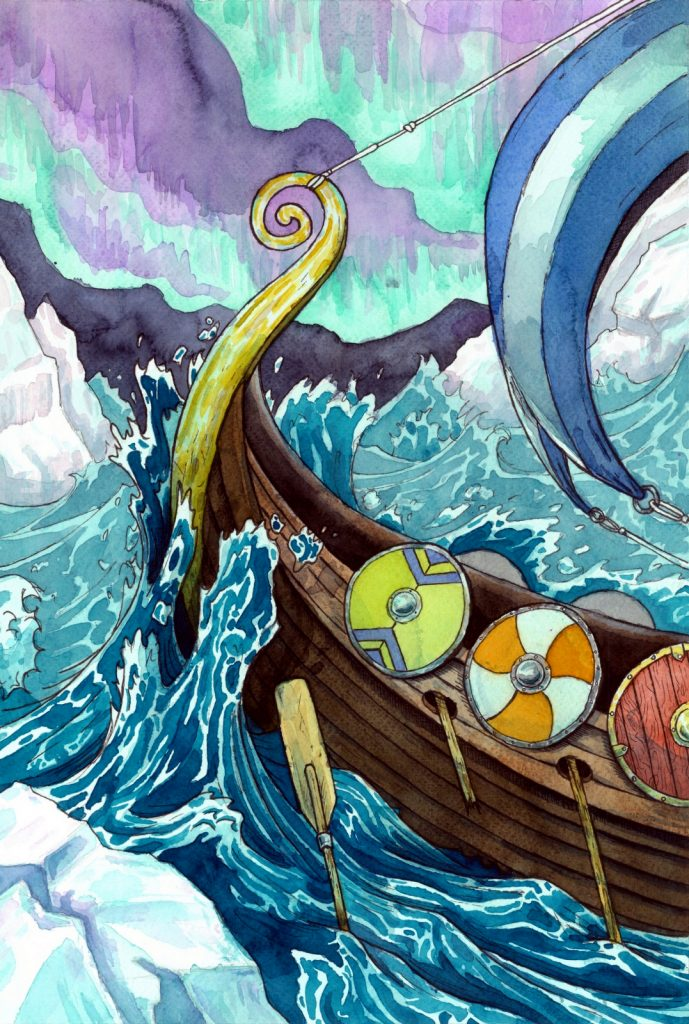 Kalevipoeg and his soldiers build the boat Lennuk to travel to Lapland and discover hidden secrets and find wisdom. They pass through a lot of adventures and tragedies where a lot of warriors died. Illustration by Joan Llopis Doménech