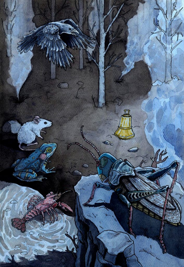 Kalevipoeg travels through Põrgu, the underworld, to fight evil creatures and demons. He obtains a magic bell from a dwarf. When it rings, different animals come to help him in his path. Illustration by Joan Llopis Doménech
