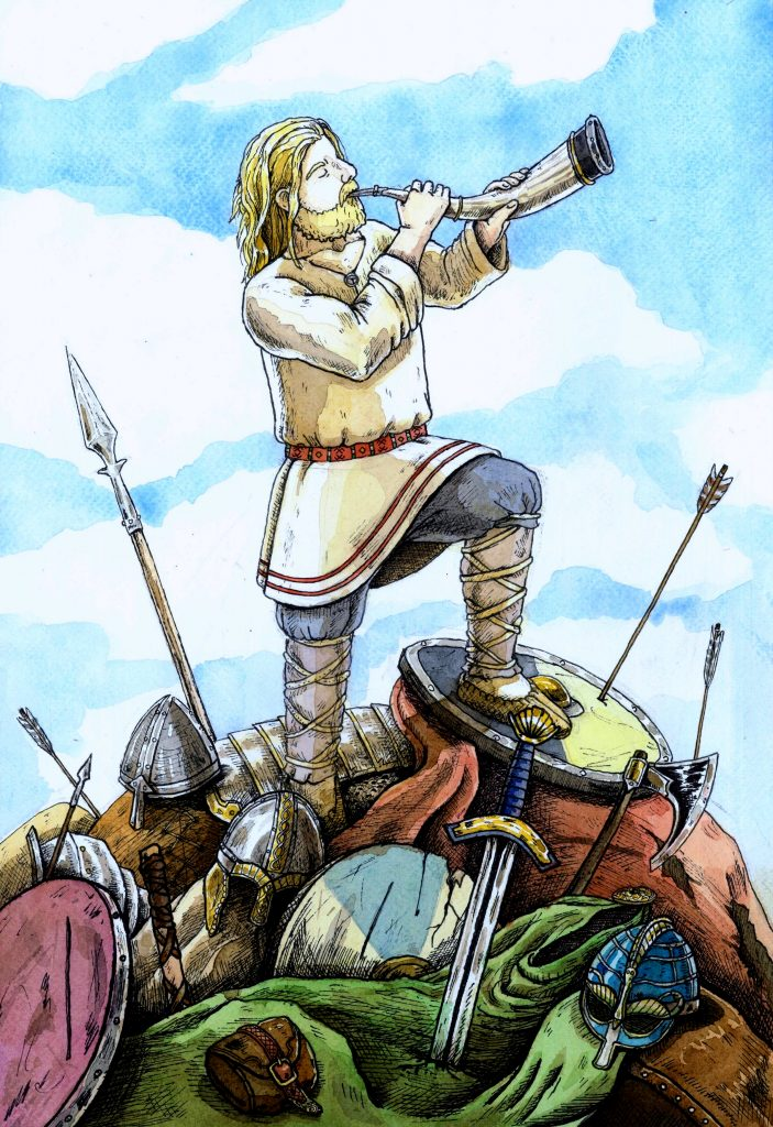 A big war starts. Kalevipoeg and his soldiers fight against the enemies of Estonia. After the Estonians win, Kalevipoeg travels to Lake Peipus and the brook Kääpa. But here the cursed sword appears from the water and kills him. His soul flies to heaven and the god Taara (similar to the Scandinavian Thor) gives him a final quest, to watch over the gates of the underworld to protect the Estonians. It is said that he still stands there today. Illustration by Joan Llopis Doménech