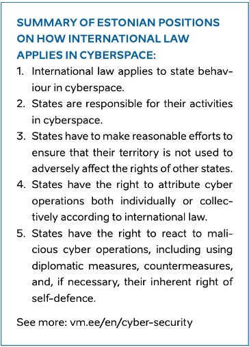 Summary of Estonian positions on how international law applies in cyberspace. Screenshot from the report.