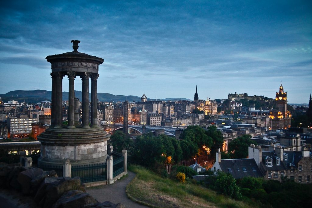 A sunset in Edinburgh, the capital of Scotland. Photo by Peter Cordes on Unsplash.