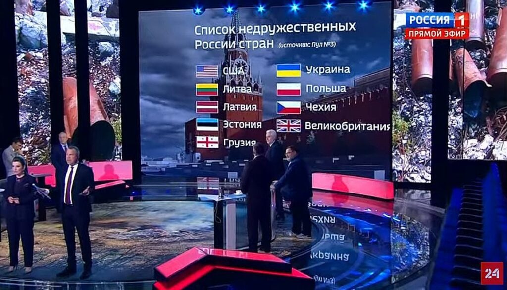 "A screen grab from the Russian TV station, Rossiya 1, showing the supposedly leaked preliminary list of the countries that are ""unfriendly"" towards Russia."