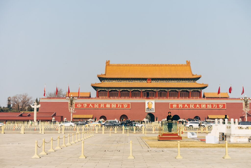 Tiananmen Square in Beijing, China, where in 1989, student-led protests were violently crushed by the Chinese government. Several hundreds to several thousands of people were killed. Photo by Markus Winkler on Unsplash.