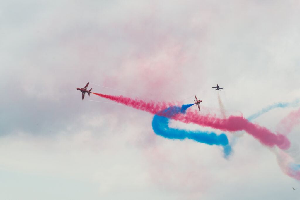 The British Royal Air Force Aerobatic team, called the Red Arrows, displaying an airshow over Tallinn Bay on 23 June 2021. Photo by the Estonian Defence Forces.