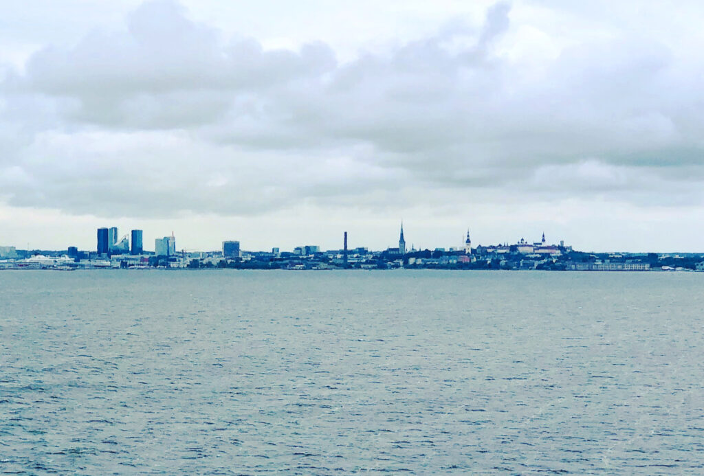 The skyline of Tallinn, the capital of Estonia, when approaching from the Gulf of Finland. Photo by Sten Hankewitz.