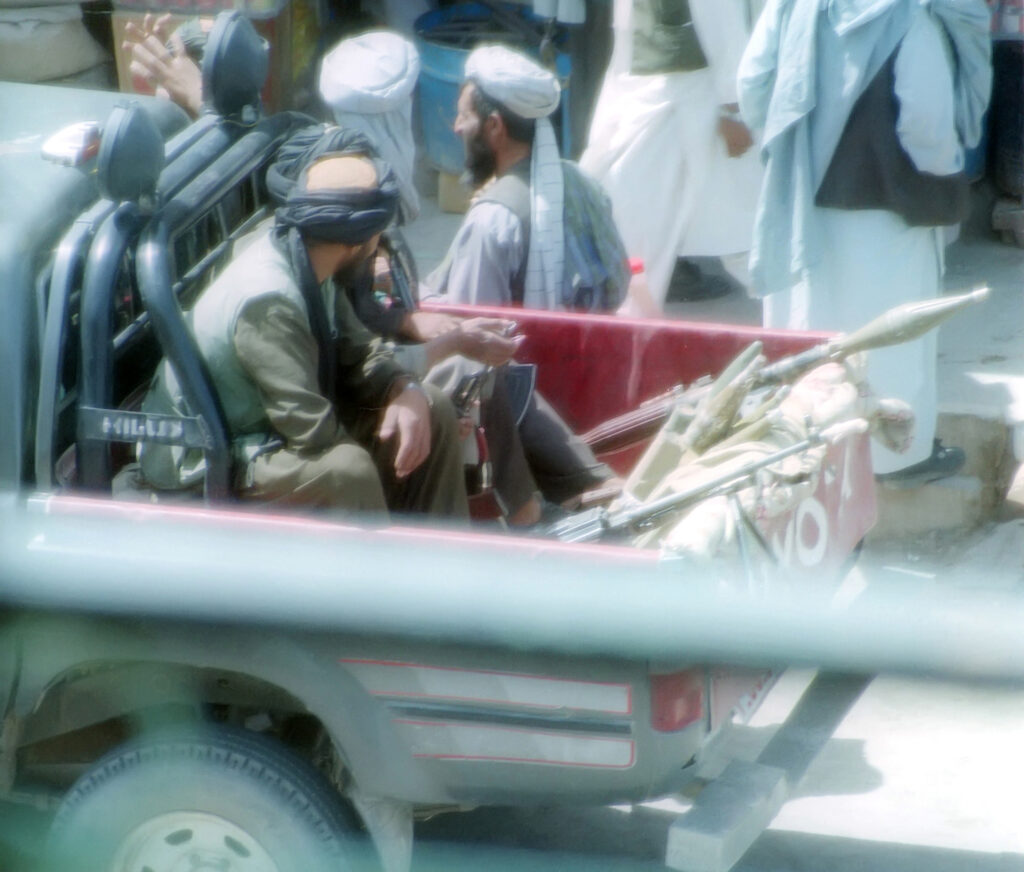 Taliban police patrolling the streets of Herat, Afghanistan. Photo: public domain.
